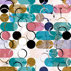 abstract seamless background pattern, with circles / ovals, strokes and splashes, vector art