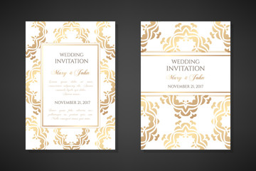 Wedding invitation templates. Cover design with ornaments and white background. Vector decorative vertical posters with copy space.