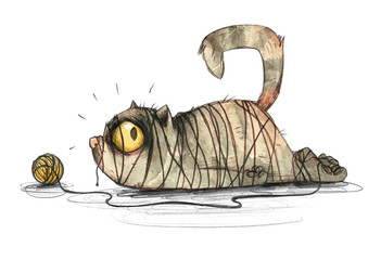 Cartoon Katze hat sich beim spielen mit Wolle verheddert