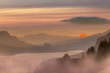Foggy Red Sun Sunrise at Columbia River Gorge