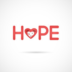 """Hope"" typographical.Hope word icon.Breast Cancer October Awareness Month Campaign Background.Women health vector design.Breast cancer awareness logo design.Breast cancer awareness month icon."