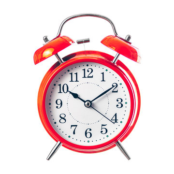 Red vintage alarm clock wishes good morning isolate on white background