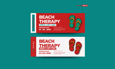Beach Therapy Gift Voucher Design with Flip Flops Vector Illustration