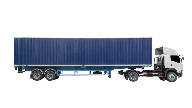 Cargo container and trailer truck isolated on white background. This has clipping path.