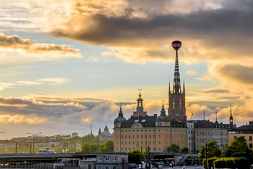 Wall Mural - View of Stockholm city during sunset time in Sweden.