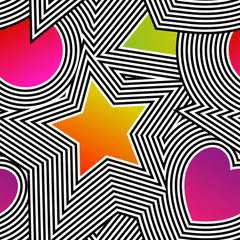 Abstract vector seamless op art pattern. Colorful pop art, graphic ornament. Optical illusion.