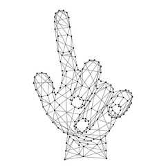 Hand with an outstretched index finger or pressing an invisible button made from futuristic polygonal black lines and dots. Vector illustration.