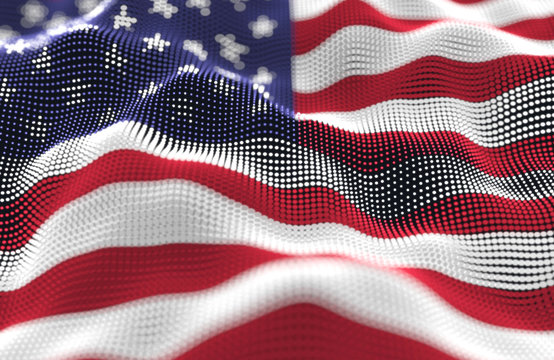 Abstract glowing particle wavy surface with the United States of America flag texture
