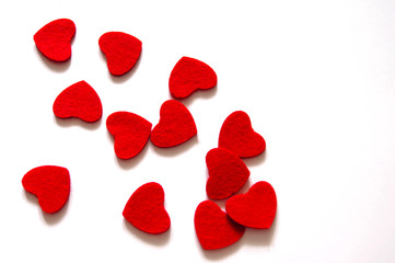 White background with carved hearts. For Valentine's Day, Women's Day, Mother's Day.