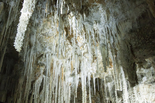 08-10-2018 Herault France. Stalactite and stalagmite inside Clamouse cave, in Saint Guilhem le desert in France.