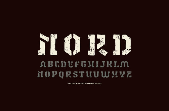 Stencil-plate serif font in the style of handmade graphics