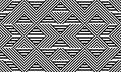 Fotobehang ZigZag Seamless pattern with striped black white straight lines and diagonal inclined lines (zigzag, chevron). Optical illusion effect, op art. Background for cloth, fabric, textile, tartan.