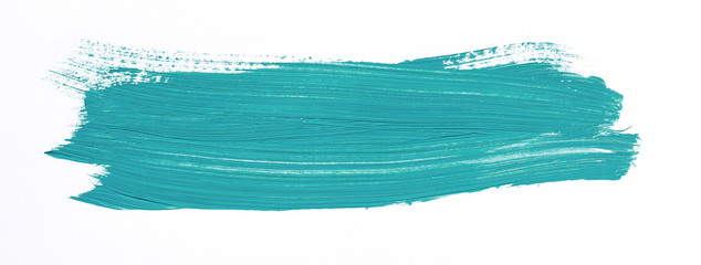 Turquoise brush stroke isolated over white background Wall mural