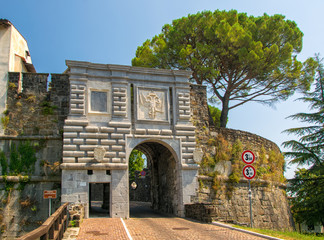 Scenic view of Leopoldina Gate of historic Castle in Gorizia, Italy