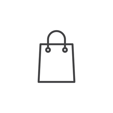 Shopping bag outline icon. linear style sign for mobile concept and web design. Paper bag simple line vector icon. Symbol, logo illustration. Pixel perfect vector graphics