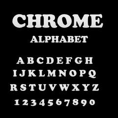 chrome alphabet font. metal effect italic letters and numbers. modern metallic letters and numbers on the dark background. chrome letters.