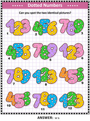 IQ and memory training visual puzzle for kids and adults with colorful dotted numbers: Can you spot the two identical pictures? Answer included.