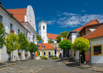 Scenic view of old town of Szentendre, Hungary at sunny summer day