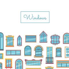 Vector window flat icons with place for text illustration
