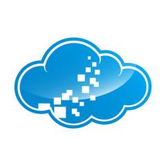 blue cloud symbol ,big data cloud logo,big cloud technology logo. CLoud data management vector logo