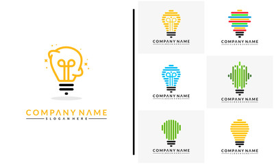 Set of Modern Bulb logo designs concept, Pixel Technology Bulb Idea logo template