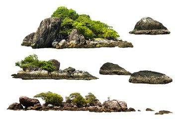 The trees on the island and rocks. Isolated on White background Fotoväggar