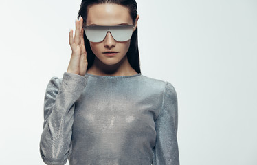 Stylish female model in robotic look