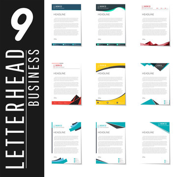 Letterhead design template and mockup minimalist style vector bundle. set design for business or letter layout, brochure, template, newsletter, document or presentation and other.