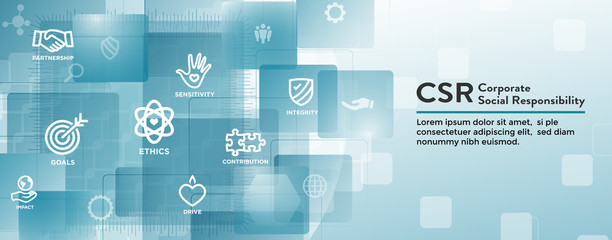 CSR-Social Responsibility Web Banner Icon Set and Web Header Banner w Honesty, integrity, collaboration, etc.
