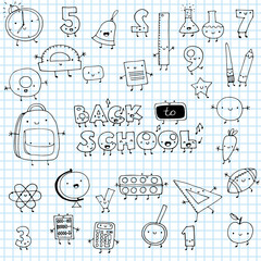 Hand drawn funny doodle school icons vector illustration