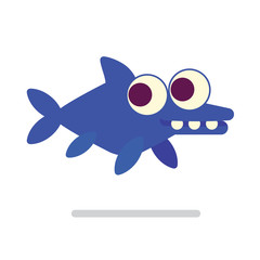 Cute Ichthyosaur swimming. Dinosaur life. Vector illustration of prehistoric character in flat cartoon style isolated on white background. Funny blue Ichthyosaurus with big eyes. Element for design.