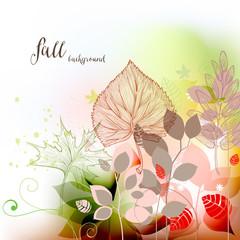 Fototapete - Fall seasonal background, autumn leaves