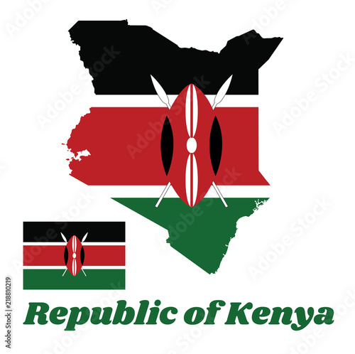 Map outline and flag of Kenya, A horizontal of black, white