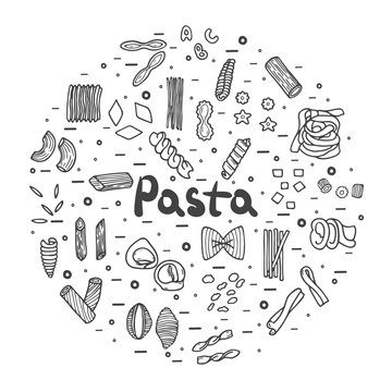 Pasta icons, big set, hand drawn style