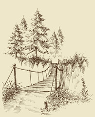 Suspension bridge in the forest, nature sketch