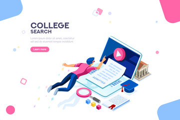 Teaching and research, college infographic. Tutorial online, courses, seminar, class at desk of knowledge. E-learning concept with characters. Flat isometric infographic images, vector illustration.