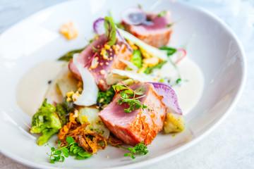 Fototapeta Fine dining cuisine - french dish on the table obraz