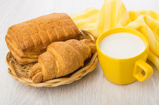 Puff pastry in wicker basket, yellow napkin, milk in cup