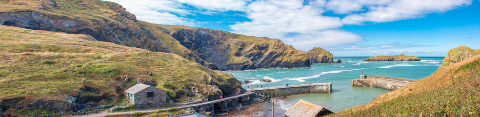 Poster Cote Landscape Panorama Mullion Cove The harbour at Mullion Cove West Cornwall South England UK