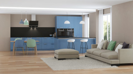 Modern house interior. Blue Kitchen. 3D rendering.