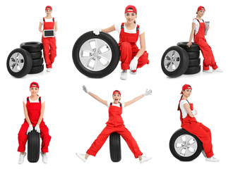 Set with professional mechanic and car tires on white background