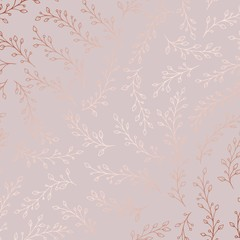 Rose gold. Vector pattern with branches
