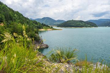Zaovine Lake summer landscape in Tara national park in Serbia