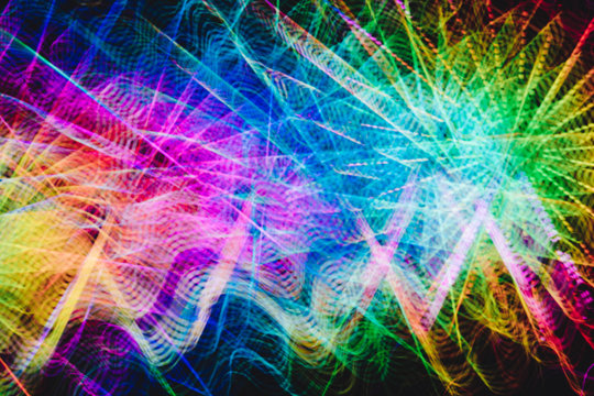 Bright traces of colorful light