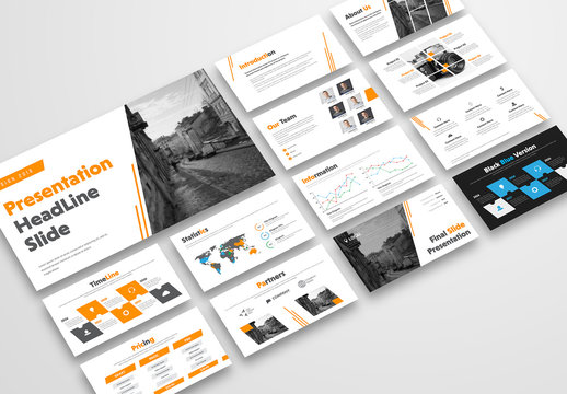 Presentation Layout with Orange Accents