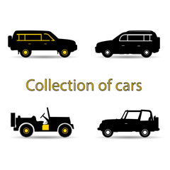Collection of cars, black and yellow silhouette on white background,