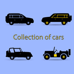 Collection of cars, black silhouette with yellow element, on blue background,