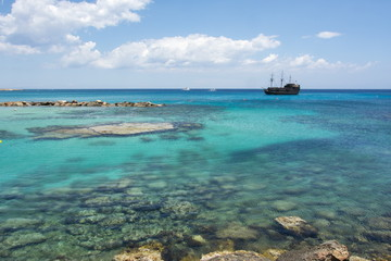 Crystal clear sea water in Protaras, Cyprus