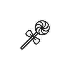 Christmas Lollipop Outline Icon Vector