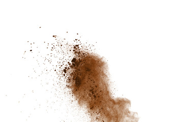 Dry soil explosion isolated on white background. Fototapete